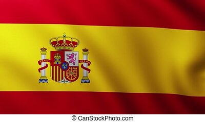 Large Spanish flag background fluttering in the wind