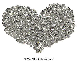 Large sparkling diamonds heart shape isolated