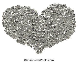 Large sparkling diamonds heart shape isolated
