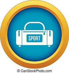 Large sports bag icon blue vector isolated