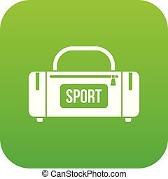 Large sports bag icon digital green