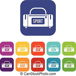 Large sports bag icons set