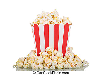 Large square box filled with mountain popcorn and around on...