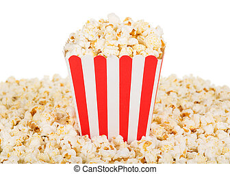 Large square box popcorn and are many around, isolated on...