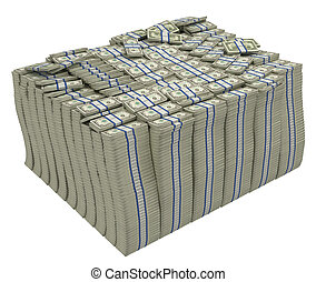 Large stack of american dollars