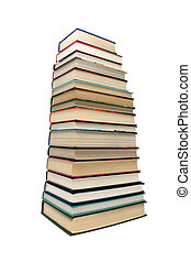 large stack of different books isolated on white background
