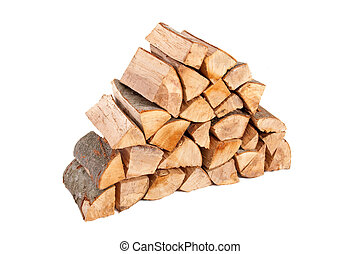 Large stack of firewood isolated on white background
