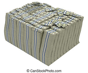 Large stack of US dollars isolated