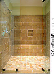 stone shower - large stone shower with glass front