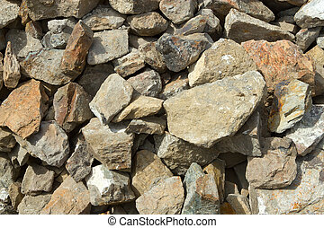 Large stones rubble from a demolished building,