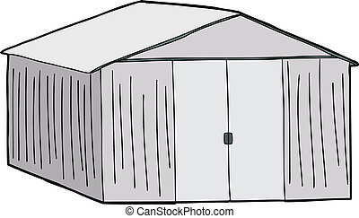 Large Storage Shed - Cartoon of large shed with double doors...