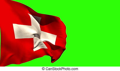 Large swiss national flag blowing on green screen background