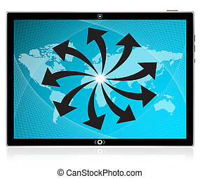 large, tablette, écran, pc, interface, informatique, toucher, world., mieux