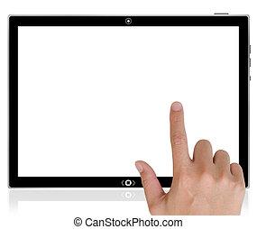 large, tablette, poussée bouton, main, pc, interface, informatique, toucher, world., écran, mieux