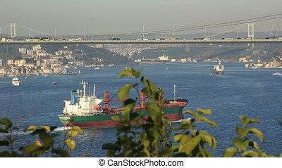 tanker passing Bosporus - large tanker passing Bosporus time...