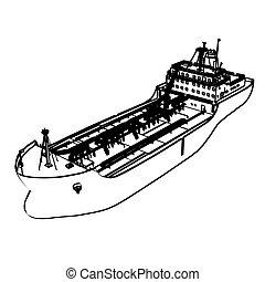 Large Tanker Ship, engraving style. Vector illustration.