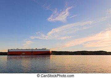 Large tanker ship ready to set sail