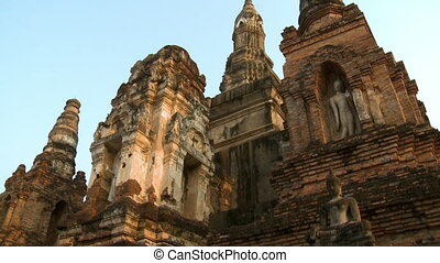 Large temple with Buddha images at Sukhothai