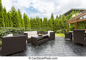 Large terrace patio with garden furniture
