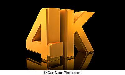 Large three-dimensional logo on a black reflective background. Matte gold.  Video 4K logo.