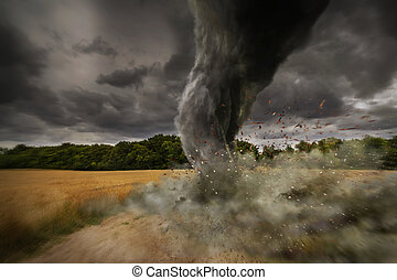 Large Tornado disaster - View of a large tornado destroying...
