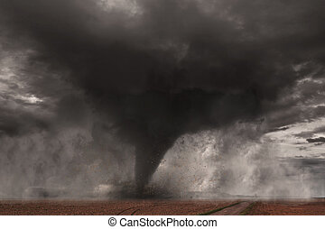 Large Tornado disaster - View of a large tornado destroying ...