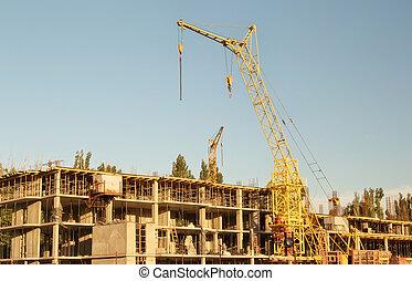 Large tower construction crane