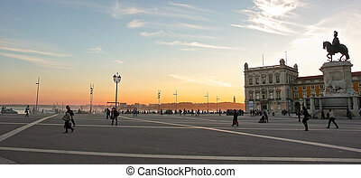 the Commercial Square in Lisbon in Portugal in the evening light