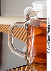 Large transparent glass mug with tea