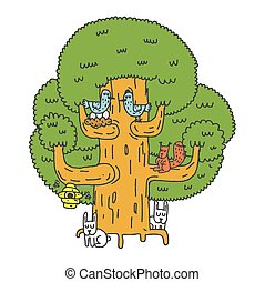 Large tree and Forest animals. Oak and squirrel. Hares and birds. Nest on tree. Hive Hand drawing