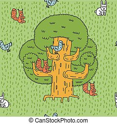 Large tree and Forest animals pattern. Oak and squirrel. Hares and birds. Nest on tree. Hive Hand drawing