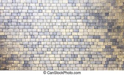 large, tuiles, construit, gris, modèle, sommet, rue, former, granit, vue