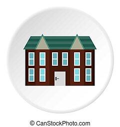 Large two storey house icon, flat style