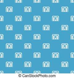Large two-storey house pattern seamless blue