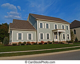 Large Two-Story Gray Home