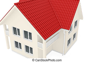 Large two-story house with red roof. 3d render