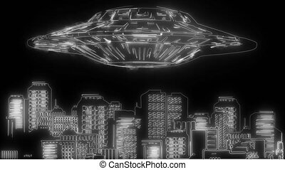 Large UFO over a city