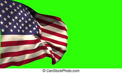 Large usa national flag blowing on green screen background