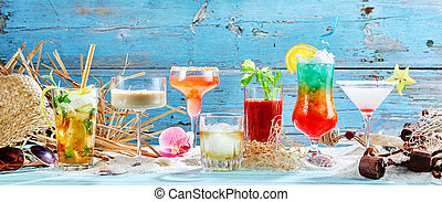 Large variety of tropical cocktails in a panorama