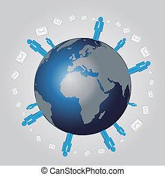 large, vecteur, réseau, esprit, humain, mondiale