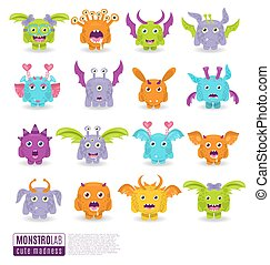 Large vector set of drawings of different characters isolated monsters. Halloween characters for your design, prints and banners
