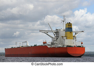 Large vessel sailing in water