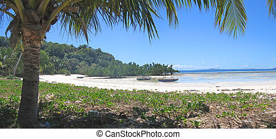 Large view from a tropical beach, Nosy Iranja, Nosy Be island, Panoramique, Madagascar