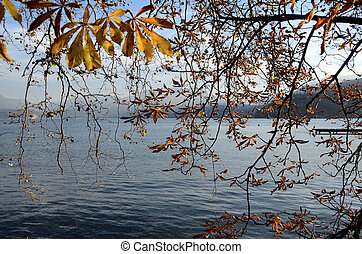Annecy lake and autumn foliage