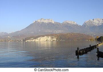 Annecy lake landscape in France