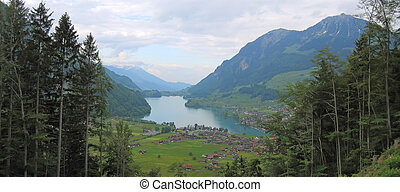 Large view on the lake Lungernsee and his valley - Switzerland - Panorama.