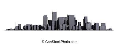 large, ville, -, arrière-plan noir, cityscape, modèle, brillant, blanc, 3d