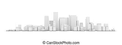 large, ville, -, fond, cityscape, modèle, blanc, 3d