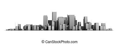 large, ville, -, gris, fond foncé, cityscape, modèle, brillant, blanc, 3d