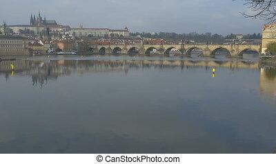 Large Vltava Panorama in Prague - Larve Vltava river...
